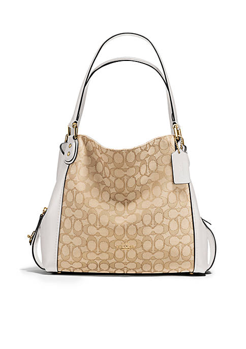 "COACH Edie Shoulder Bag 31"" Signature Jacquard Bag"