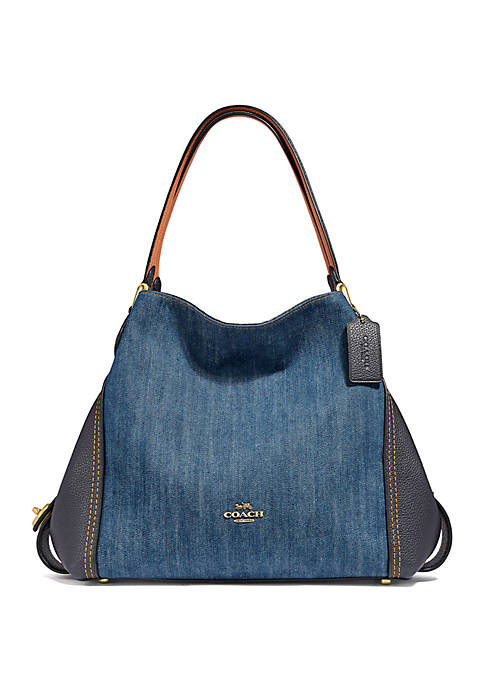 Edie 31 Denim and Leather Shoulder Bag
