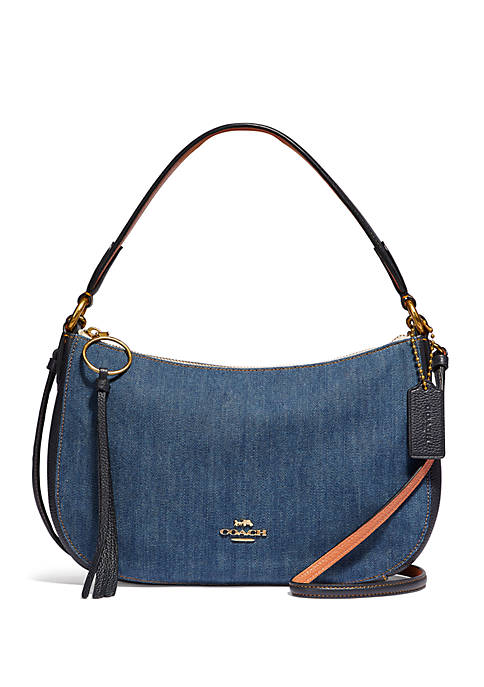 Sutton Denim and Leather Crossbody