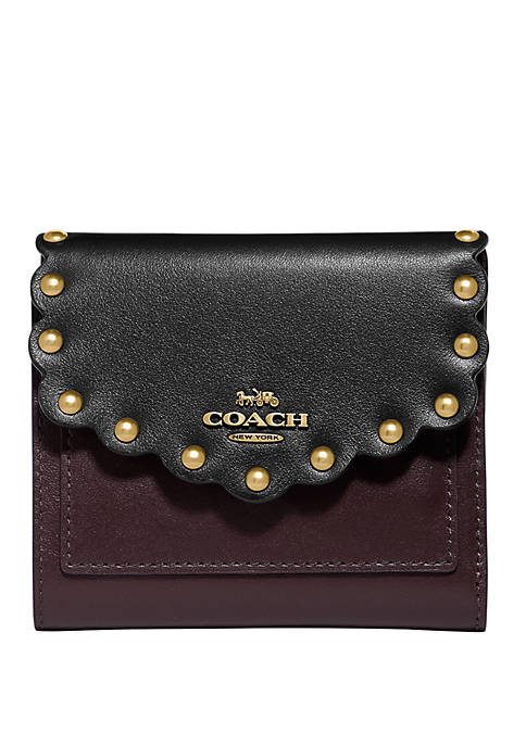 COACH Color Block Scallop Rivets Small Wallet