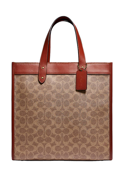 COACH Field Tote in Signature Canvas With Horse