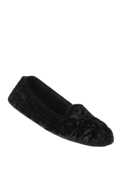 Crushed Velour Closed Back Slippers