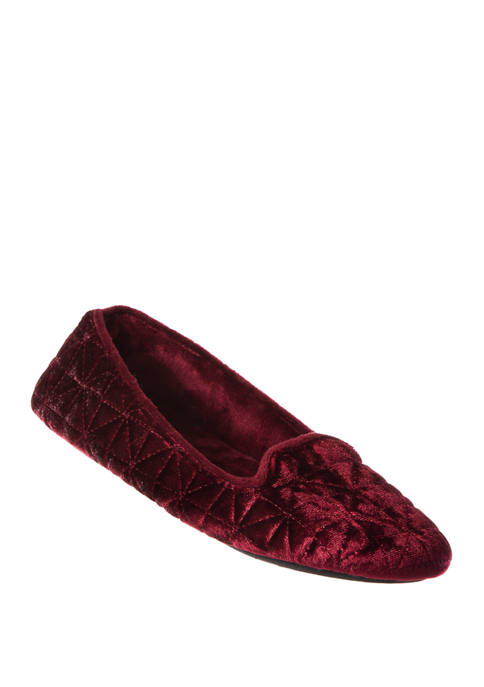 Totes Isotoner Crushed Velour Closed Back Slippers
