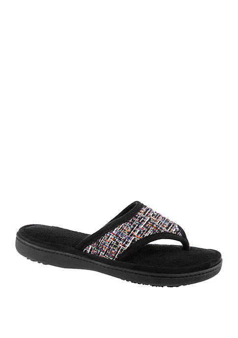5943895b5a2 Totes Isotoner Women s Nikki Tweed Thong Slippers