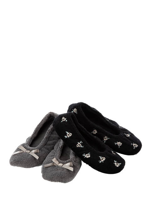 Totes Isotoner 2 Pack Microterry Embroidered Ballerina Slippers