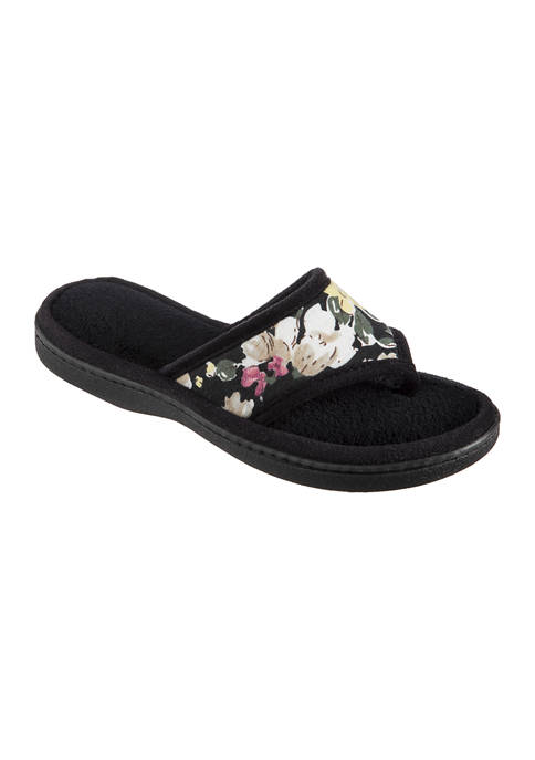 Isotoner Petunia Floral Thong Slippers