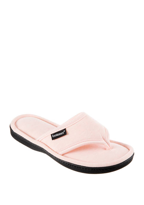 Totes Isotoner Heathers Satin Trim Campbell Thong Slippers