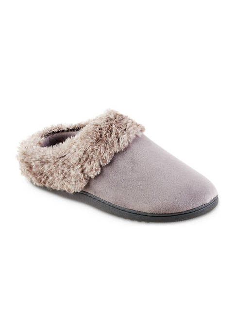Womens Boxed Velour Bethanie Hoodback Slippers