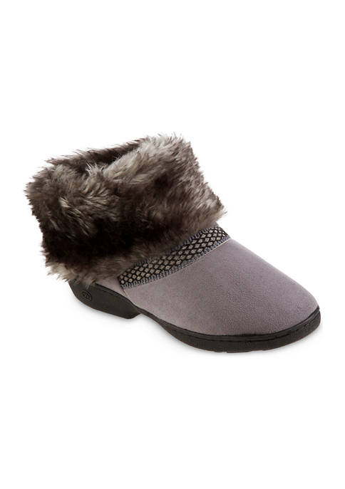 Isotoner Womens Memory Foam Microsuede Boot Comfort Slippers