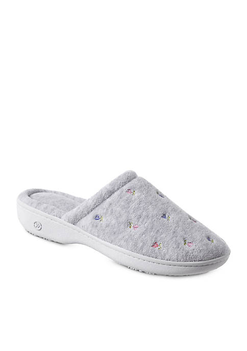 Totes Isotoner Signature Classics Floral Terry Embroidered Clog