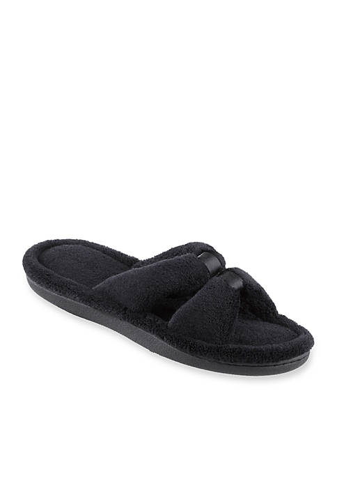 Totes Isotoner Microterry Satin Slide Slippers with Memory