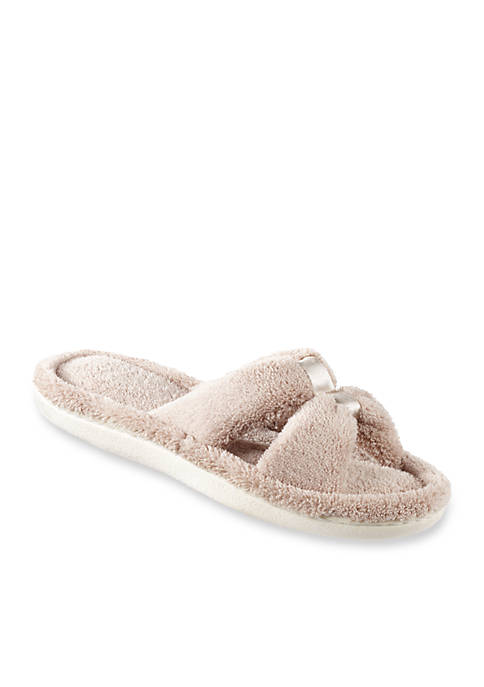 Totes Isotoner Microterry Satin Slide Slippers with Memory Foam