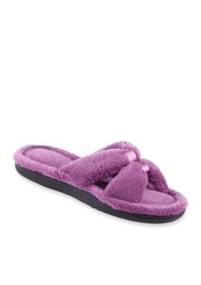 Totes Isotoner Microterry Satin Slide Slippers with Memory Foam IRIRixew