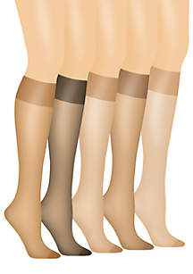 Silk Reflections Queen Size Sheer Knee High Enhanced Toe