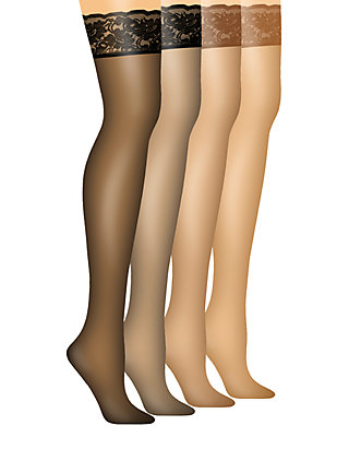 3500e7d09 Hanes® Silk Reflections Lace Top Thigh High