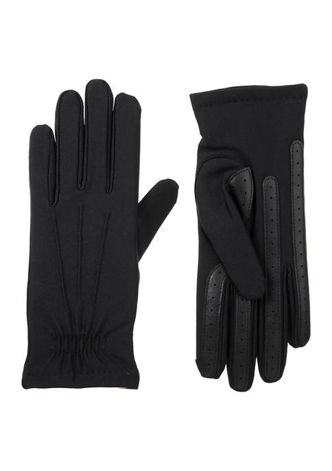Isotoner Women's Lined Spandex Water Repellent Gloves with