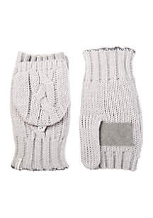 Women\u2019s Chunky Cable Knit Flip Top Mittens with Palm Patch
