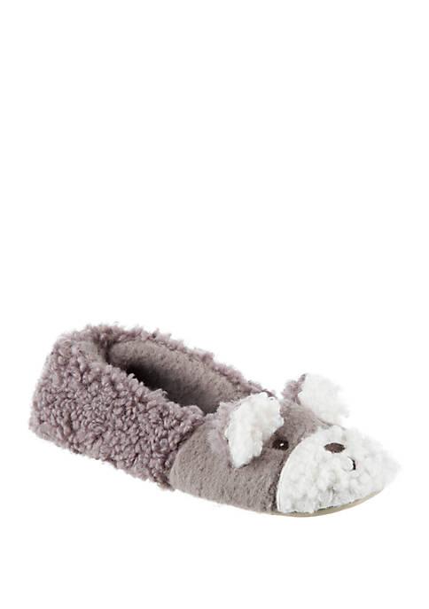 Totes Fuzzy Bear Ballet Flat Slippers
