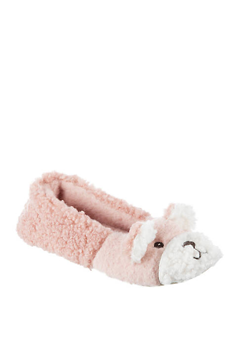 Totes Fuzzy Bear Ballet Flat Slippers