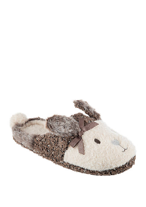 Totes 2 Tone Bunny Mule Slippers