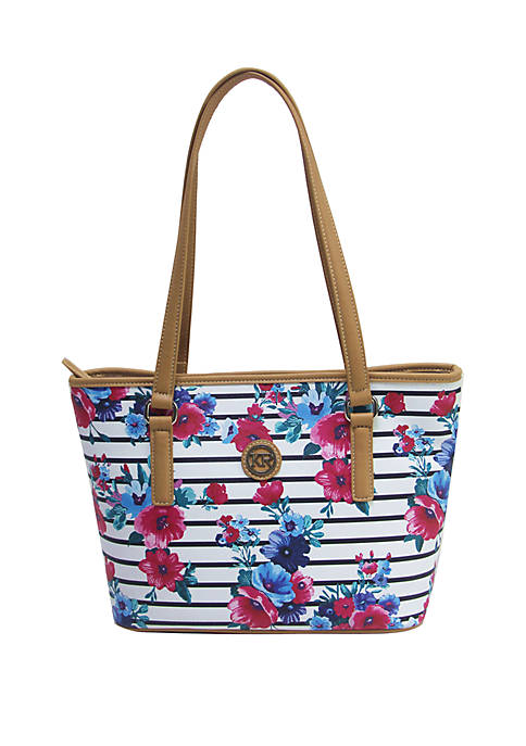 Kim Rogers® Saffiano Striped Floral Tote Bag