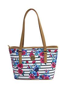 4a086a51f9 ... Kim Rogers® Saffiano Striped Floral Tote Bag