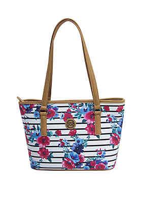 8baafe044785d3 Kim Rogers® Saffiano Striped Floral Tote Bag ...