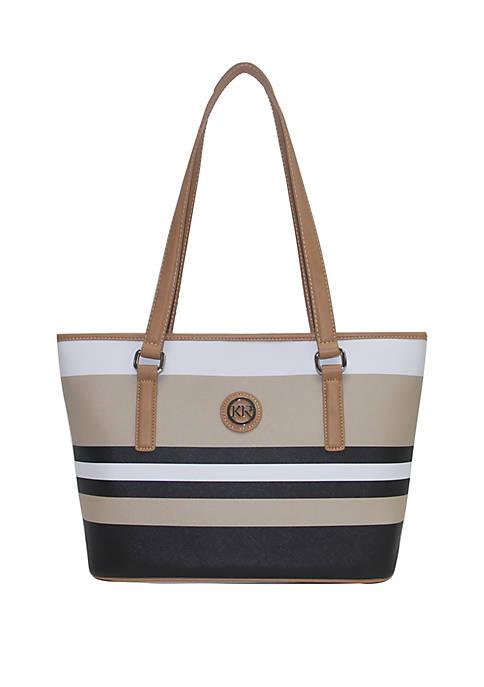 Saffiano Stripe Tote Bag