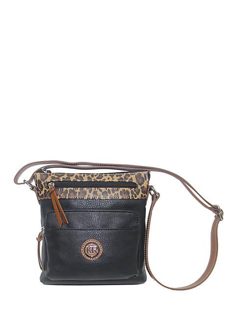 Leopard Color Block Crossbody Bag
