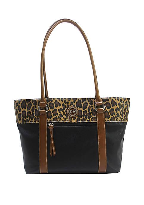 Leopard Color Block Tote Bag