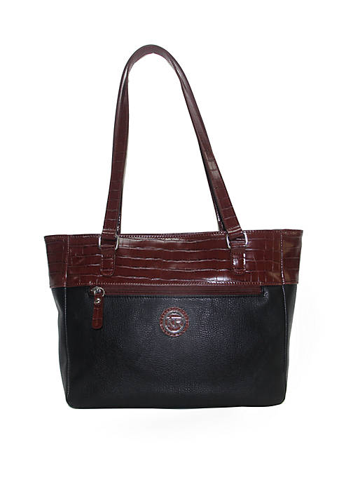 Pebbled Leather Tote with Croc Trim