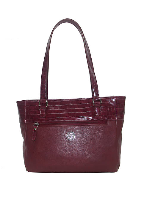 Kim Rogers® Pebbled Leather Tote with Croc Trim