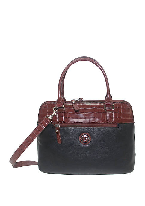 Pebble Croco Dome Satchel