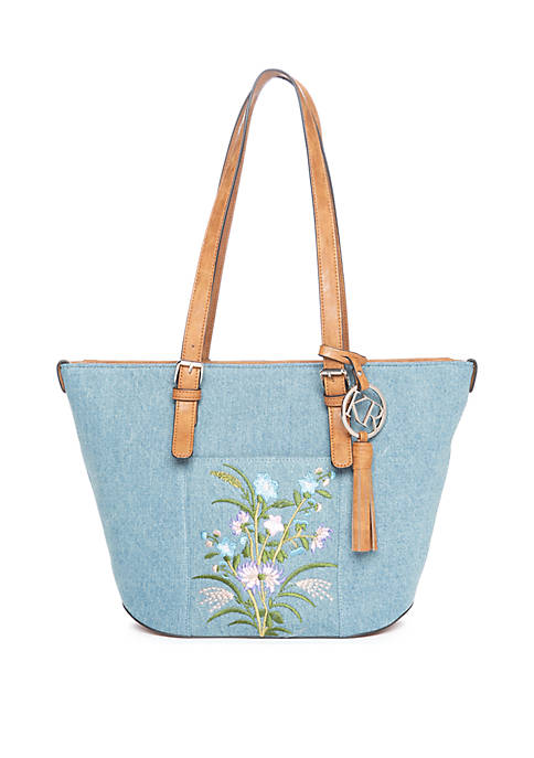 Denim with Embroidery Tote
