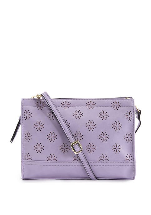 Bueno Flower Dot Perforated Mid Size Convertible Clutch