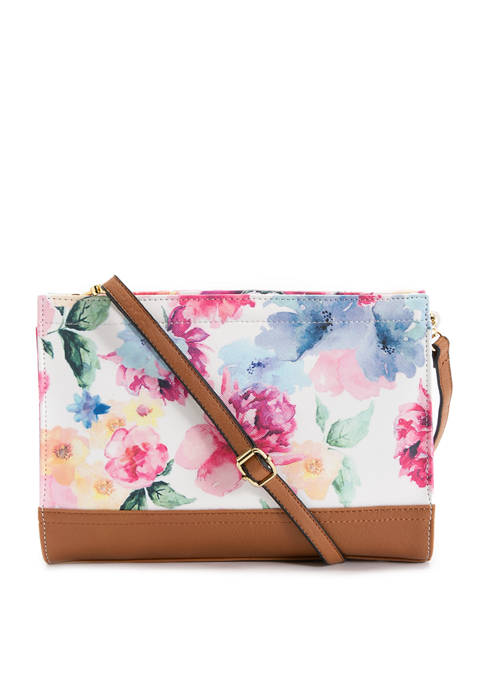 Bueno Printed Watercolor Floral Mid Size Convertible Clutch