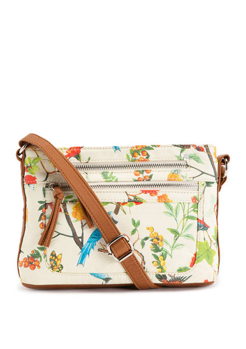 Bueno Printed Bird and Floral Washed Mid Size