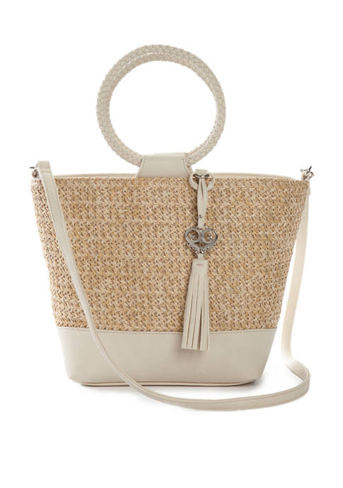 Bueno Straw Mixed Media Satchel