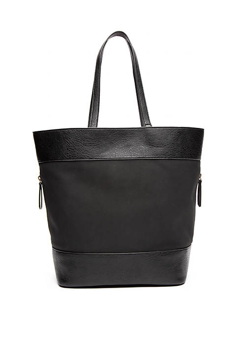 Suede Panels Large Tote