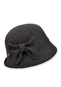 Betty Wool Cloche Hat With Rhinestone Bow
