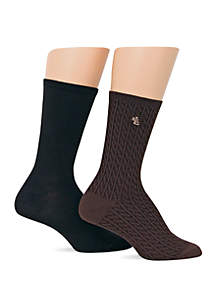 Lauren Ralph Lauren Cable Super Soft Trouser Socks 2 Pack