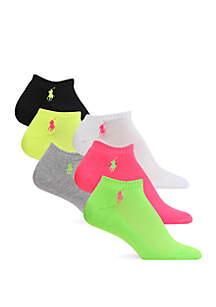 Polo Ralph Lauren Cushion Sole Mesh Top Sport Ped Socks - 6 Pack