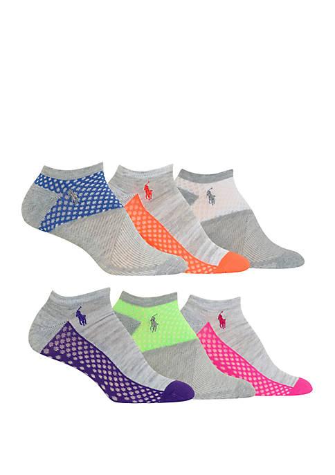 Womens Set of 6 Color Block Low Cut Socks
