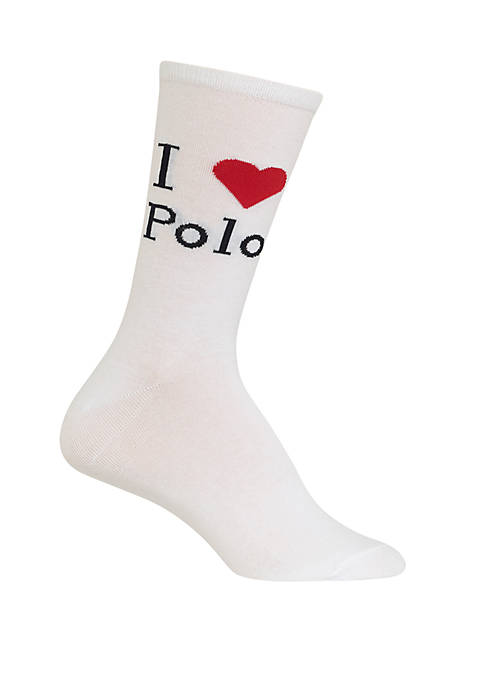 Womens I Love Polo Crew Socks