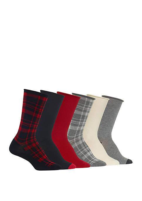 Roll Top Plaid Trouser Socks 6 Pairs