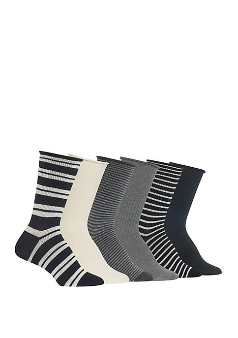 Rib Double Stripe Crew Socks 6 Pairs