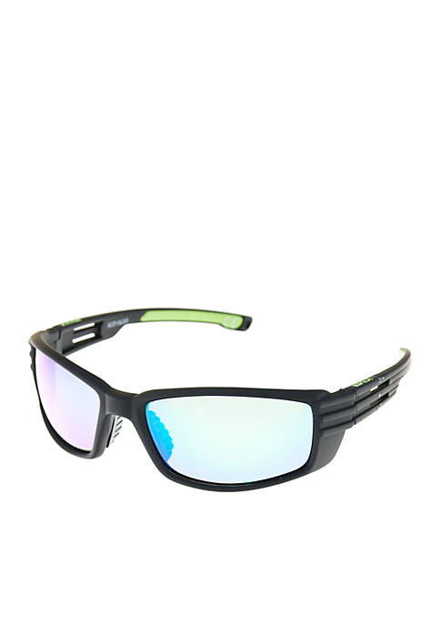 Black Wrap Sunglasses with Mirror Lens