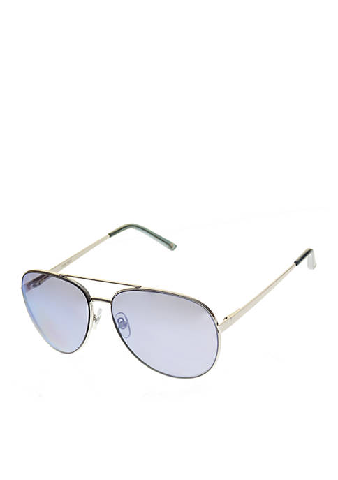 Nine West Metal Large Aviator Sunglasses