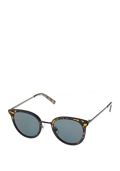 Small Flared Cat Eye Sunglasses With Metal Temples
