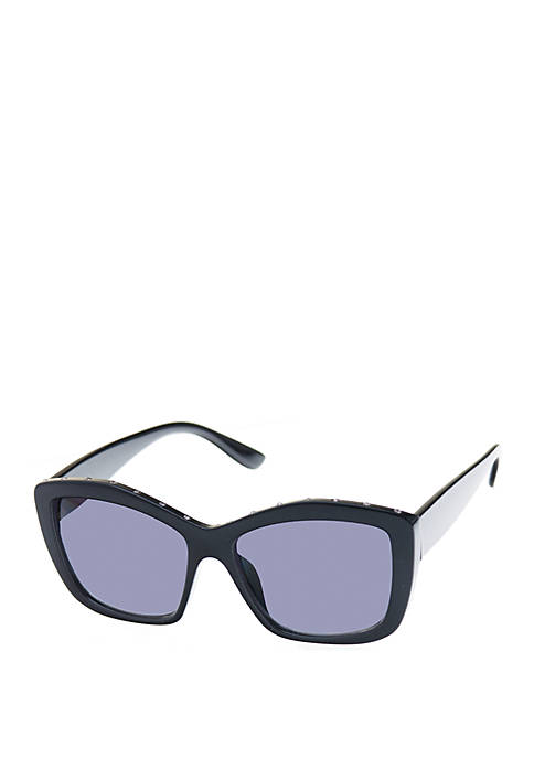 Nine West Plastic Square Sunglasses with Stones
